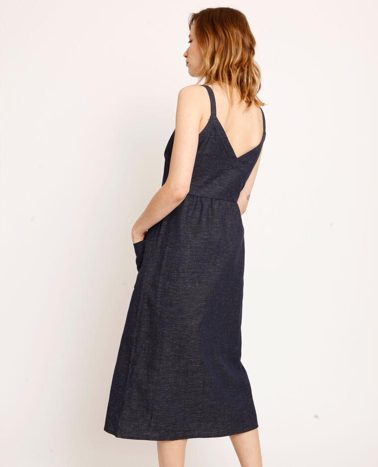 Robe longue boutonnée bleu