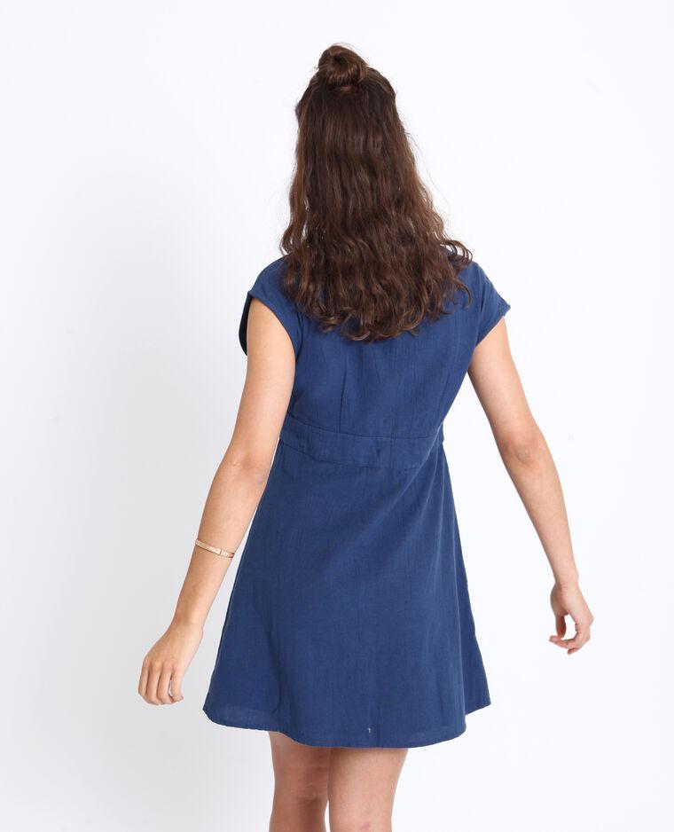 Robe boutonnée bleu foncé