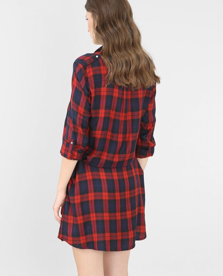 5a52df74130 Robe chemise à carreaux rouge - 780307338B06