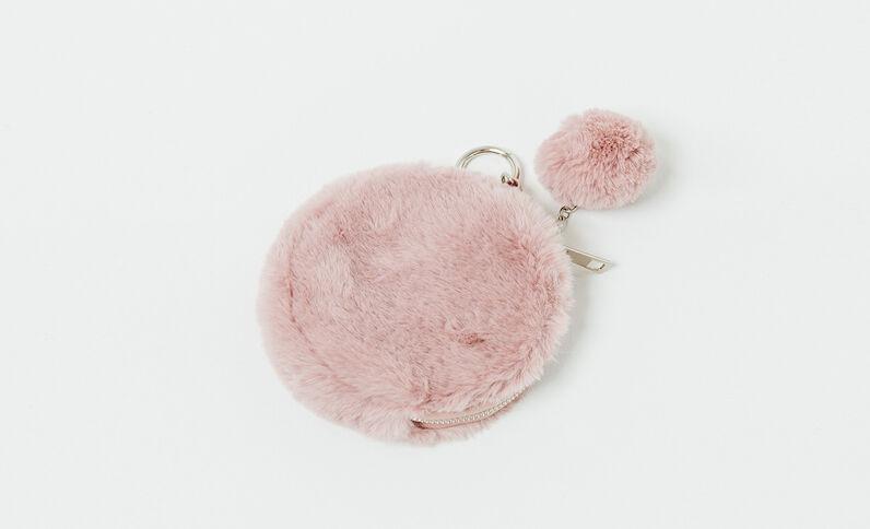 Porte-clefs en fausse fourrure rose