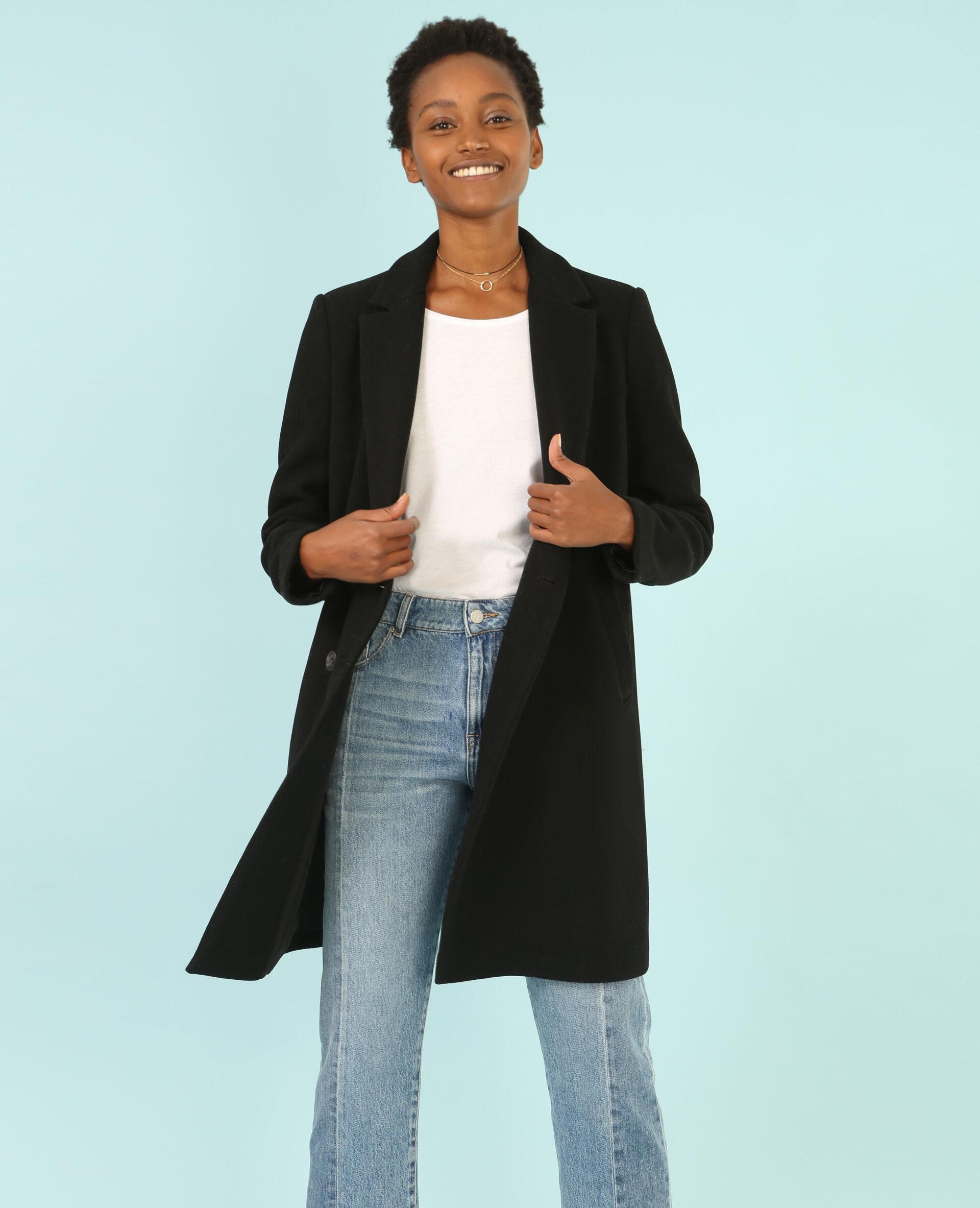 Achat manteau long noir femme