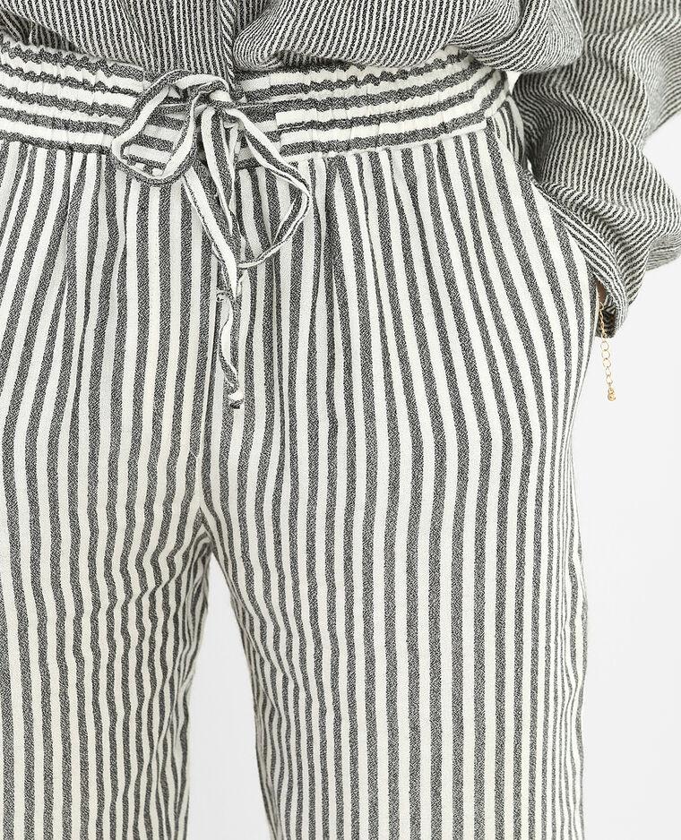 Pantalon rayé fluide blanc