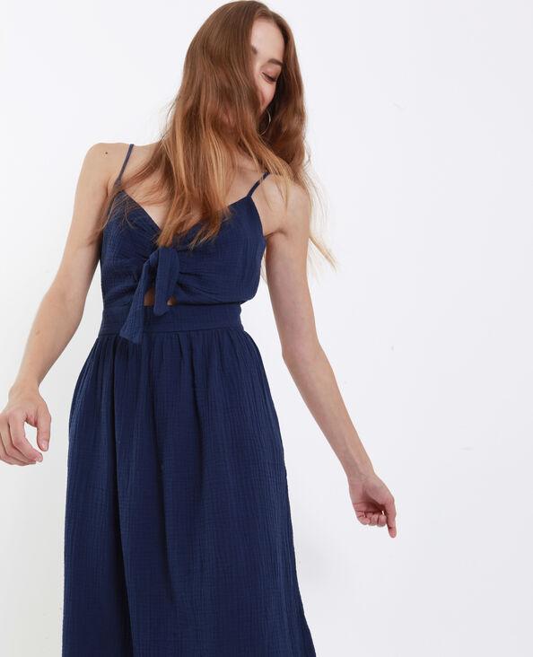 Robe nœud poitrine bleu