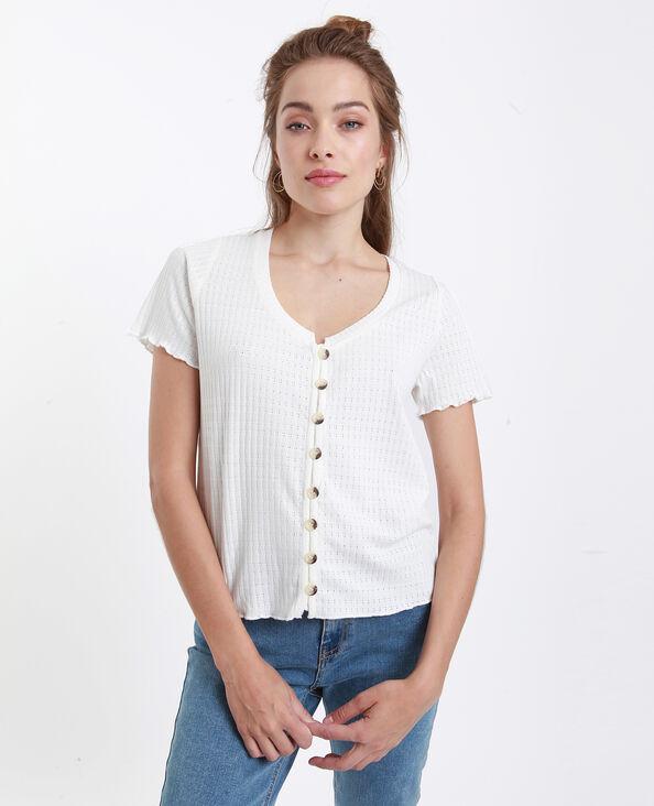 T-shirt à boutons blanc cassé
