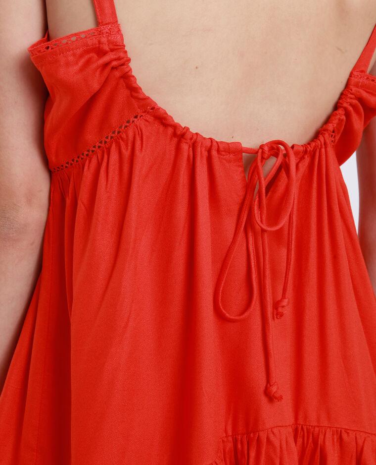 Robe courte ajourée orange