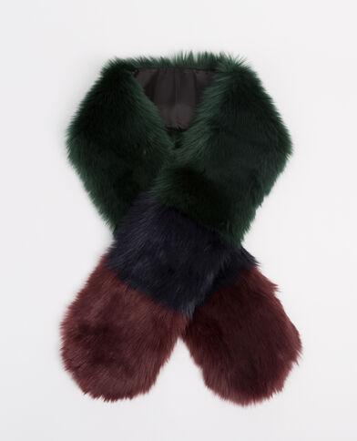 Echarpe en fausse fourrure tricolore kaki - Pimkie