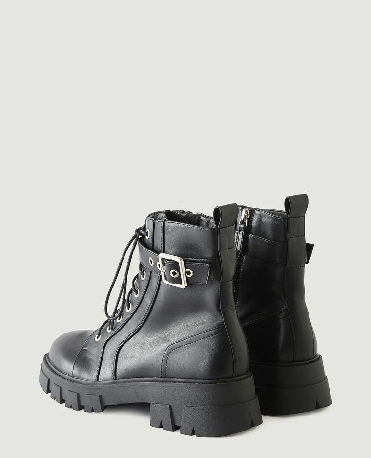 Boots en simili cuir noir - Pimkie
