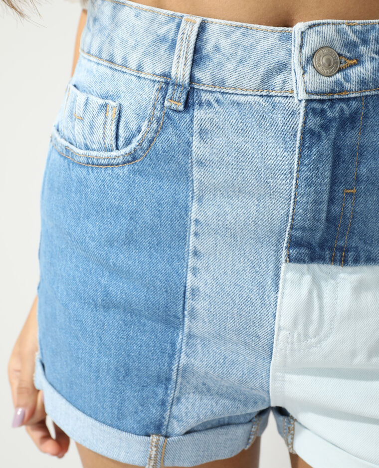 Short en jean high waist patchwork jaune - Pimkie