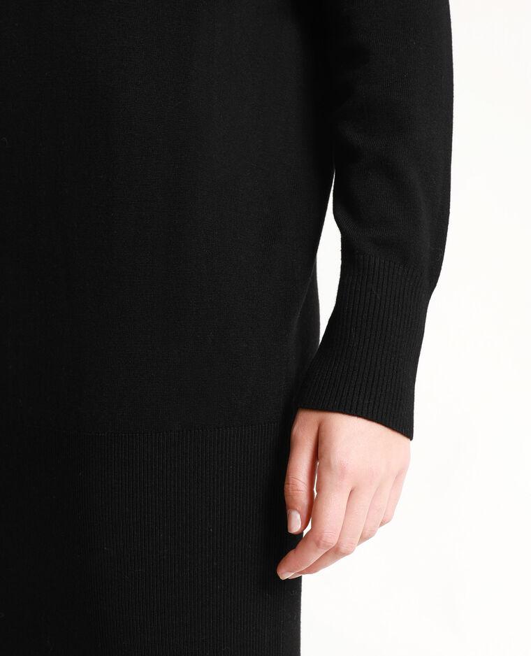 Robe pull à col châle noir - Pimkie