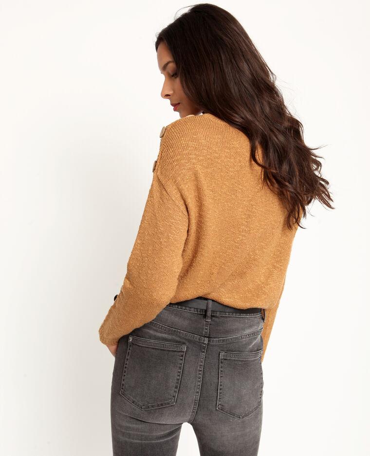 Pull boutonné marron