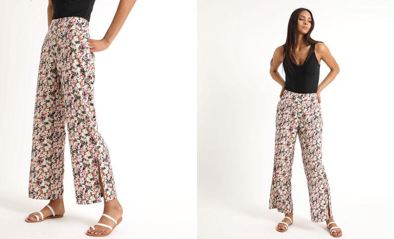 c87780bbb7604 Pantalon fluide à fleurs noir