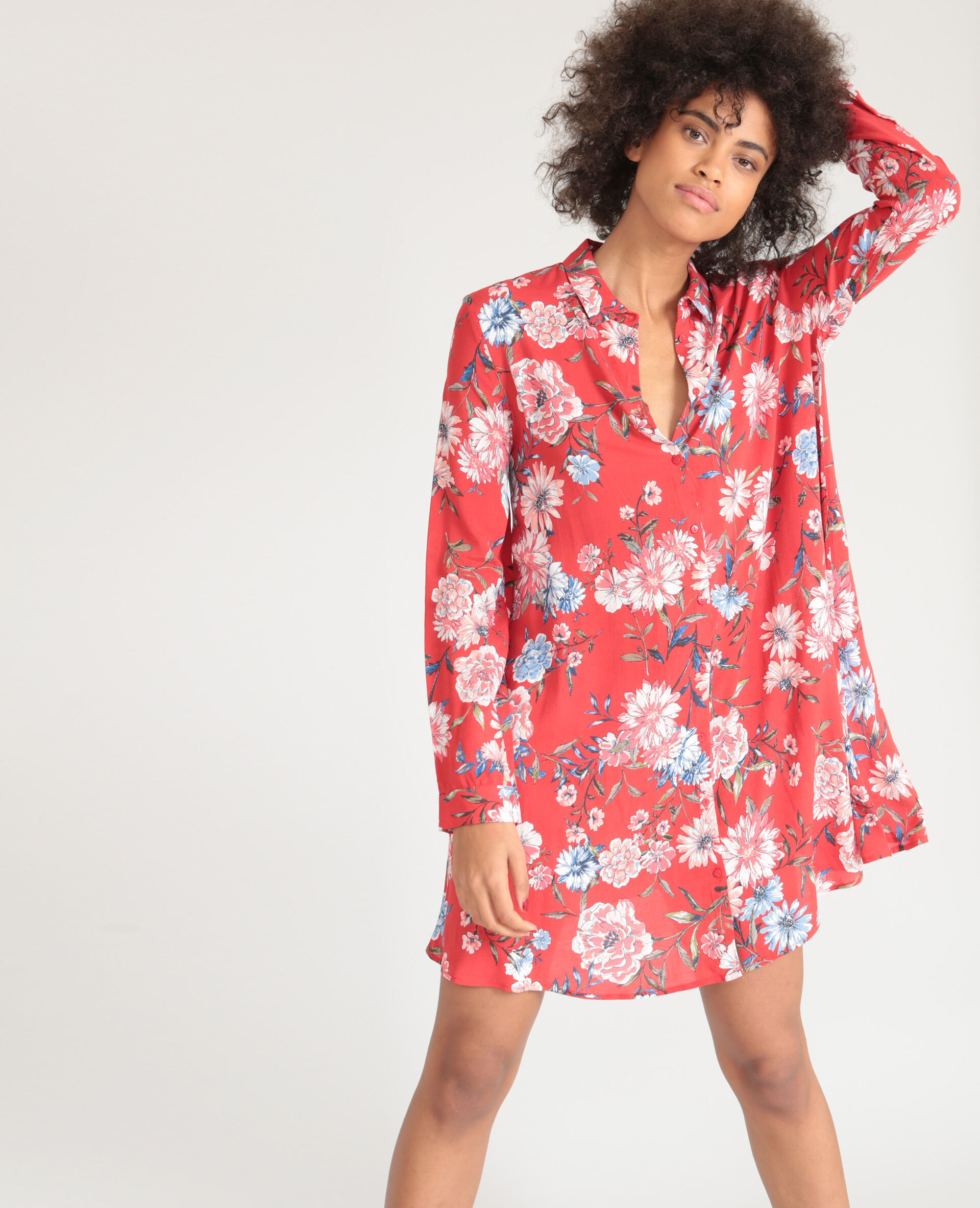 Robe chemise imprime fleuri