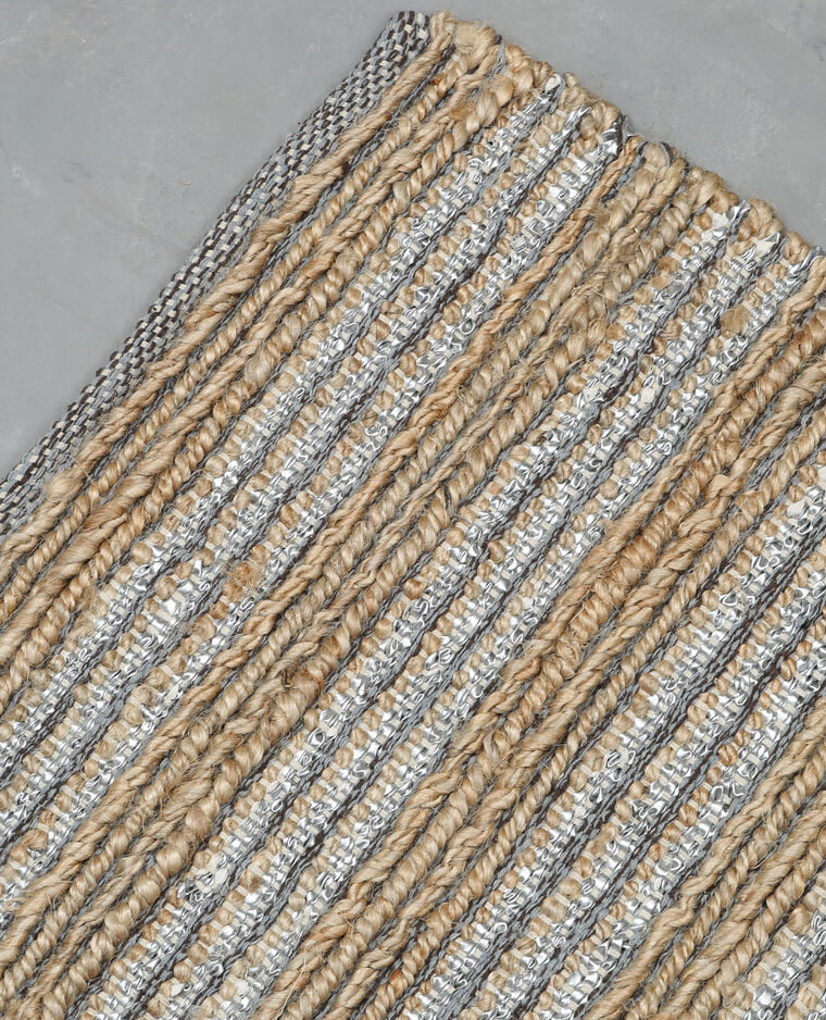 Tapis tissé en jute et simili cuir Beige