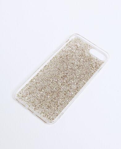 Coque compatible iPhone pailletée doré