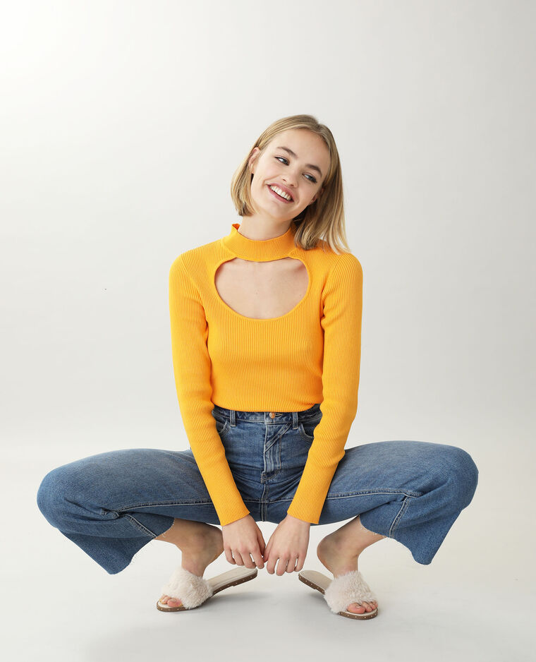 Pull ouvert orange fluo