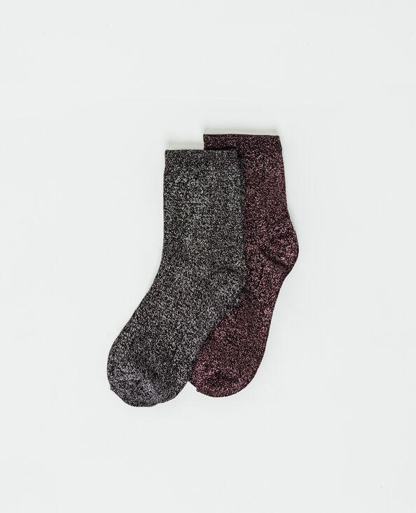 Lot de deux paires de chaussettes lurex noir