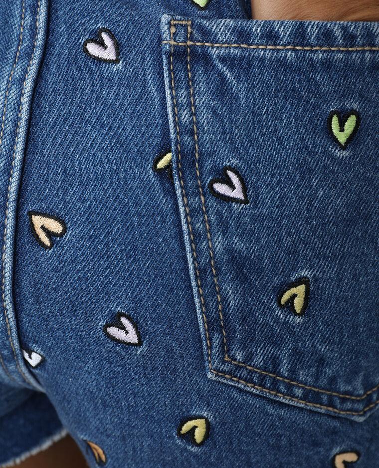Short en jean high waist avec cœurs brodés bleu denim - Pimkie