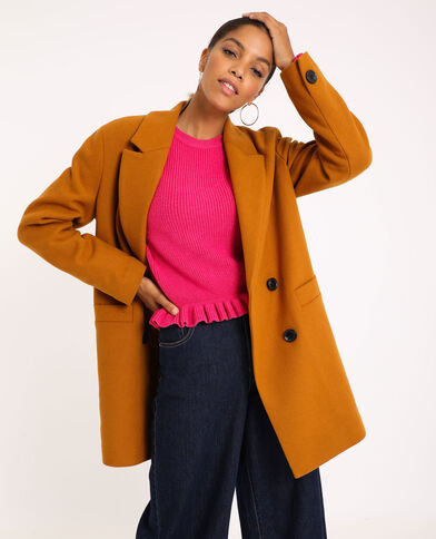 Manteau drap de laine moutarde