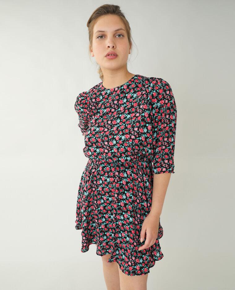 Robe trapèze fleurie noir + rouge - Pimkie
