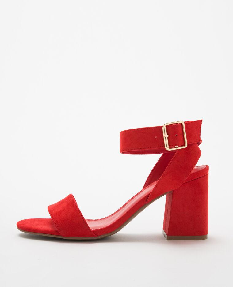 aafedf5f63a33 Sandales rouges à talons carrés rouge - 902536310A03   Pimkie