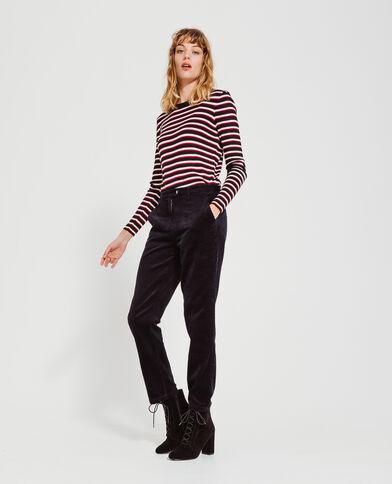 Pantalon velours bleu marine - Pimkie