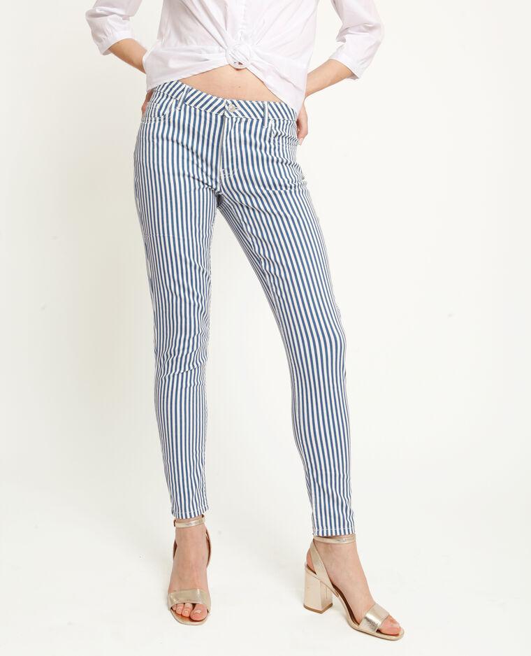 Pantalon skinny à rayures bleu