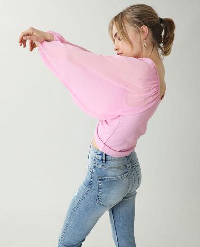 Top à manches transparentes rose