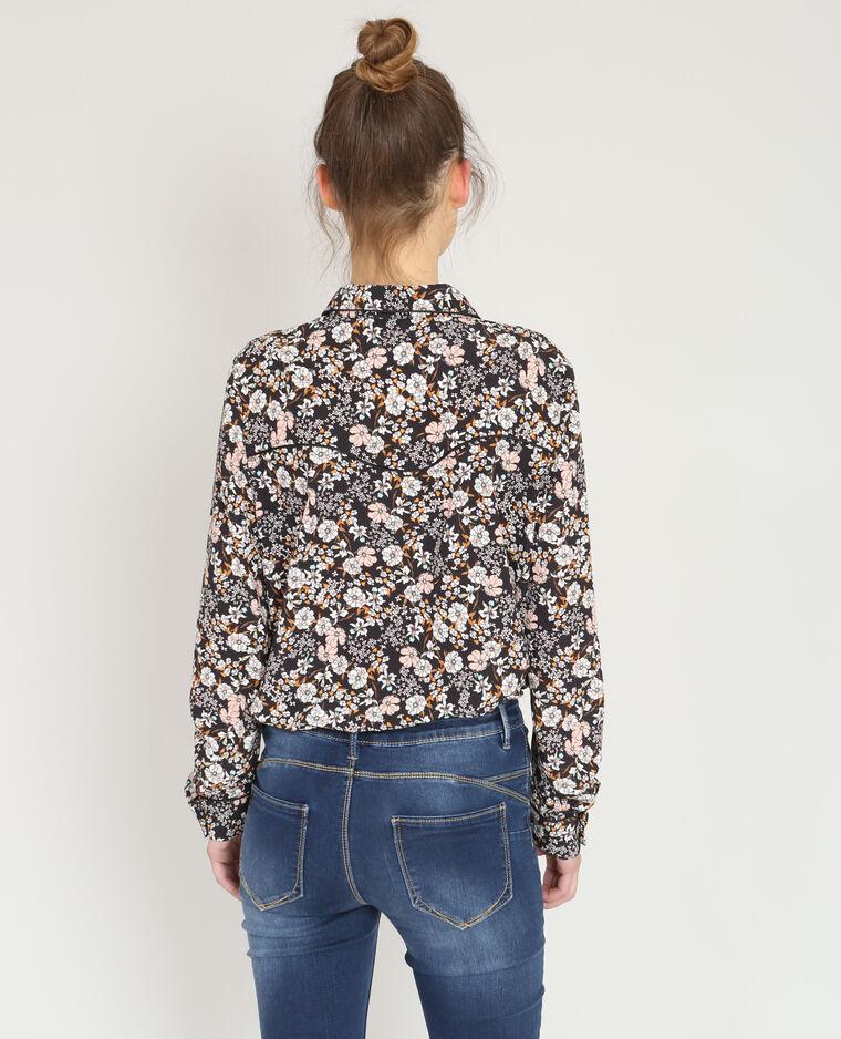 Chemise fleurie noir
