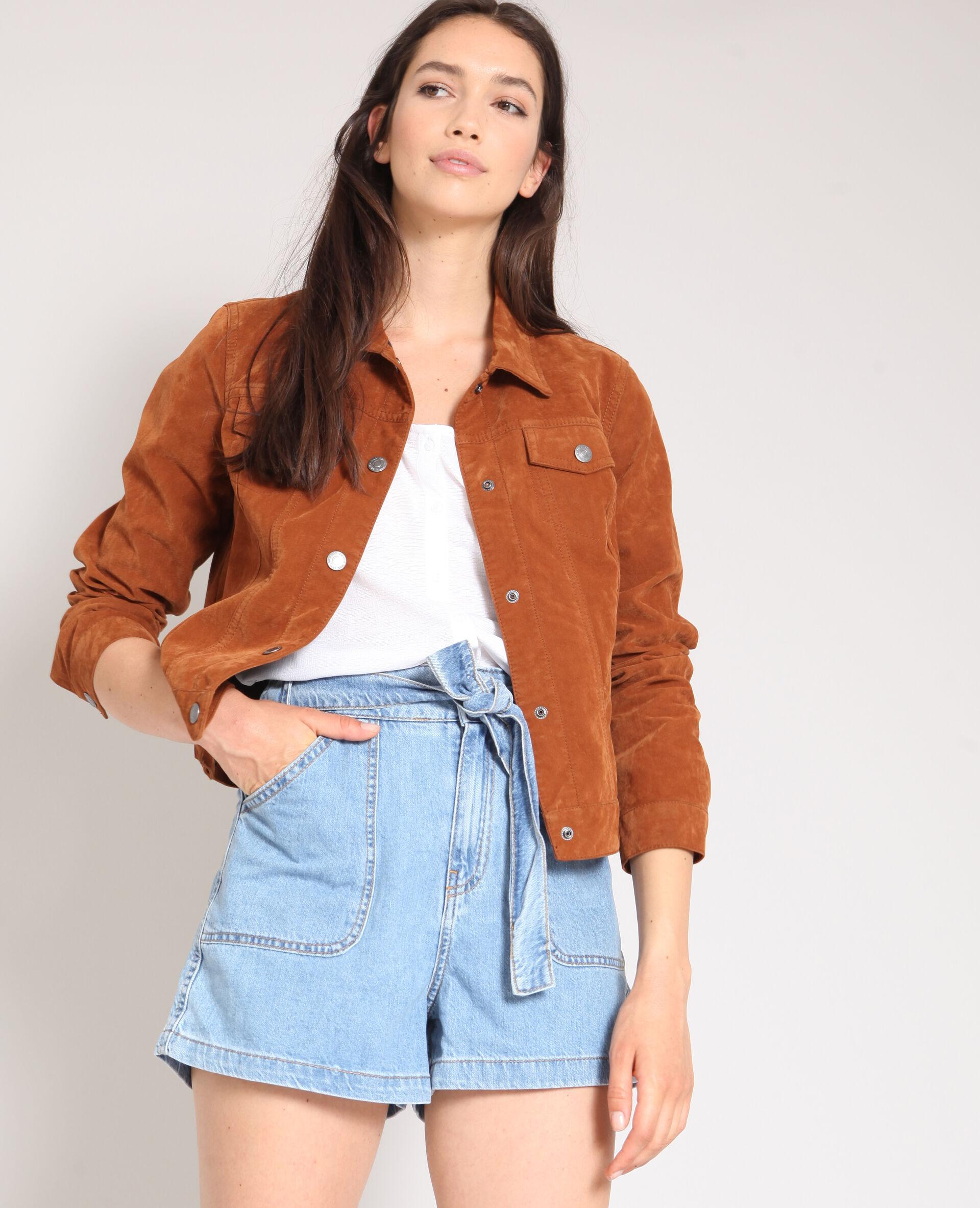 Soldes Veste en faux cuir Femme -60% - Couleur caramel - Taille S - 9f19cd95110f