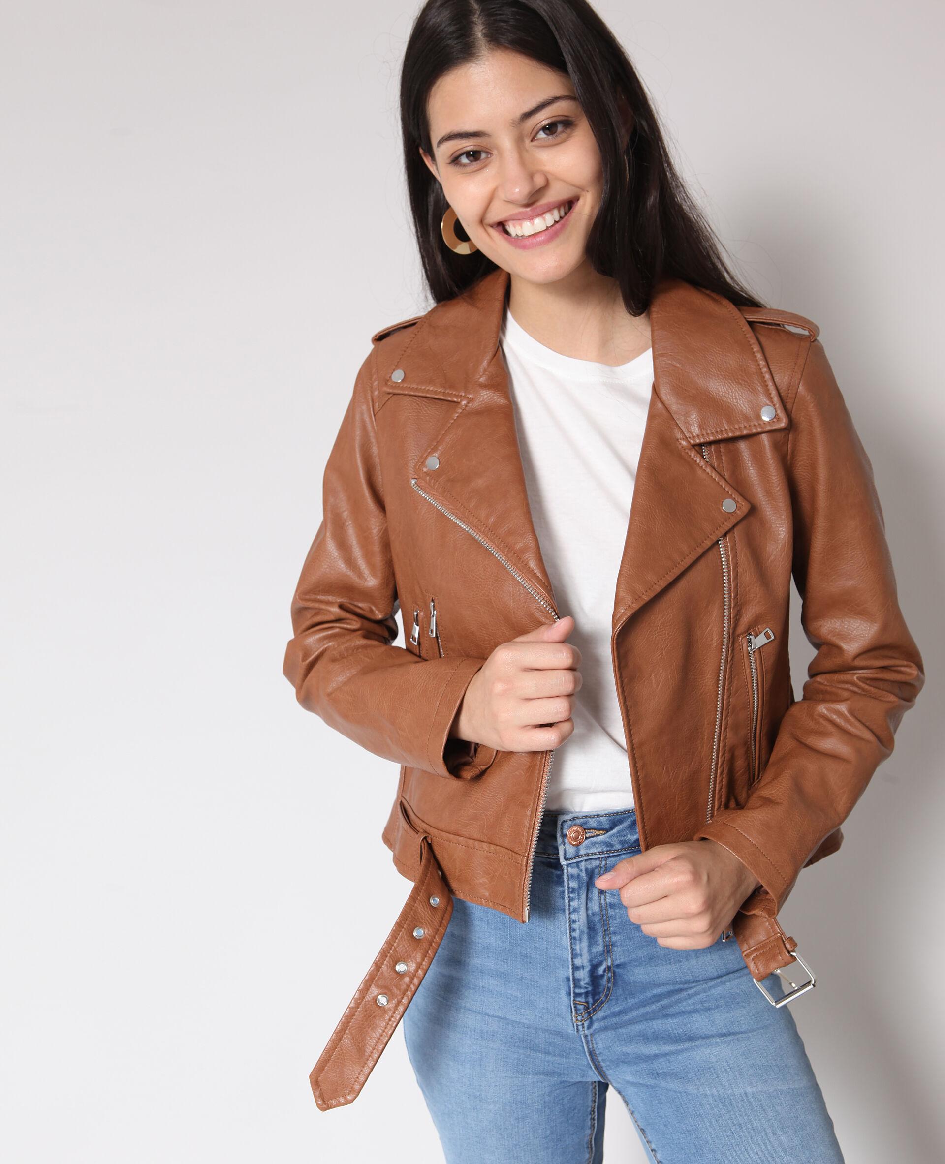 Soldes Veste perfecto faux cuir Femme -60% - Couleur caramel - Taille XS - 8c2e0c014cd9