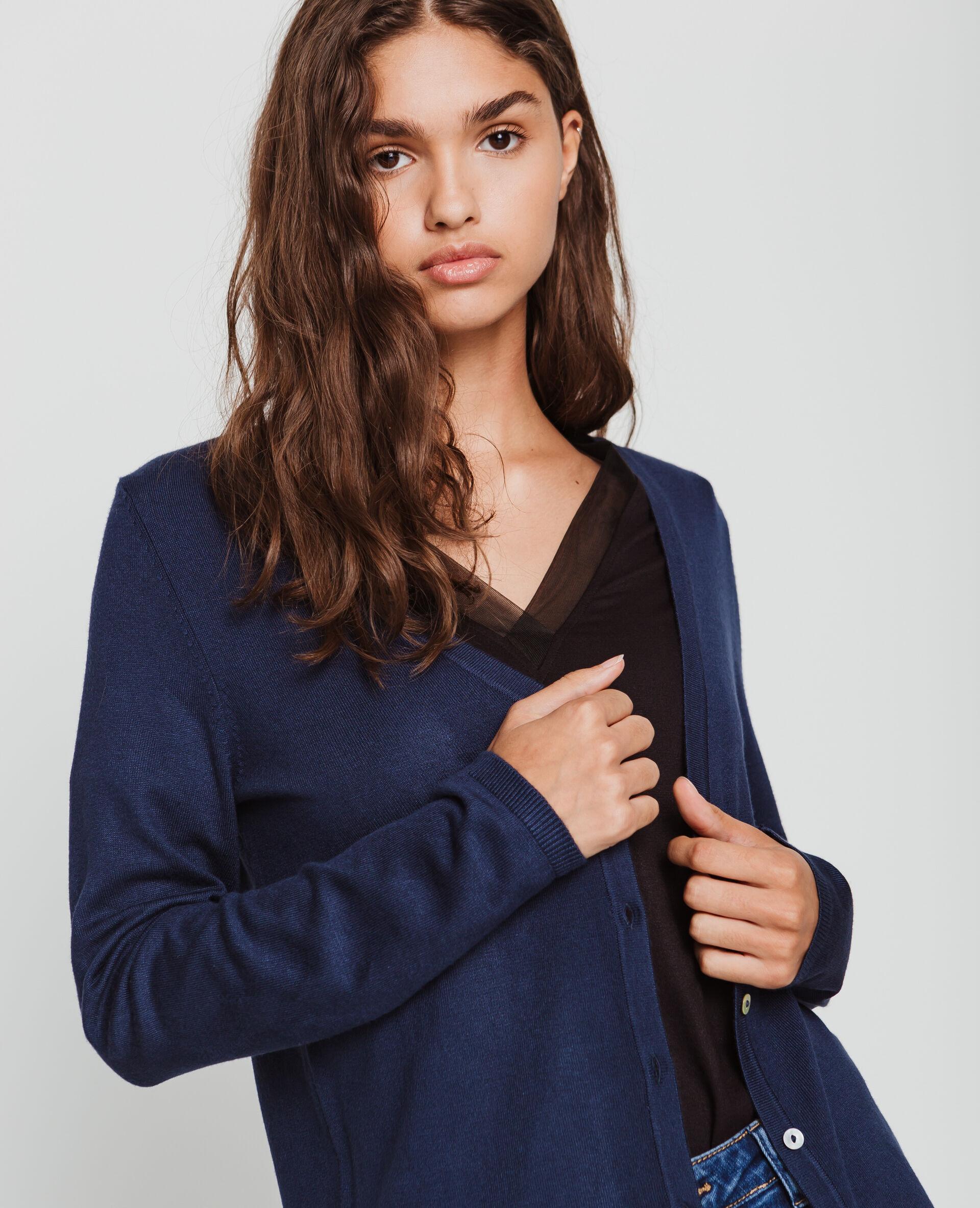 ✅Gilet boutonné Femme - Couleur bleu marine - Taille L - PIMKIE - MODE FEMME