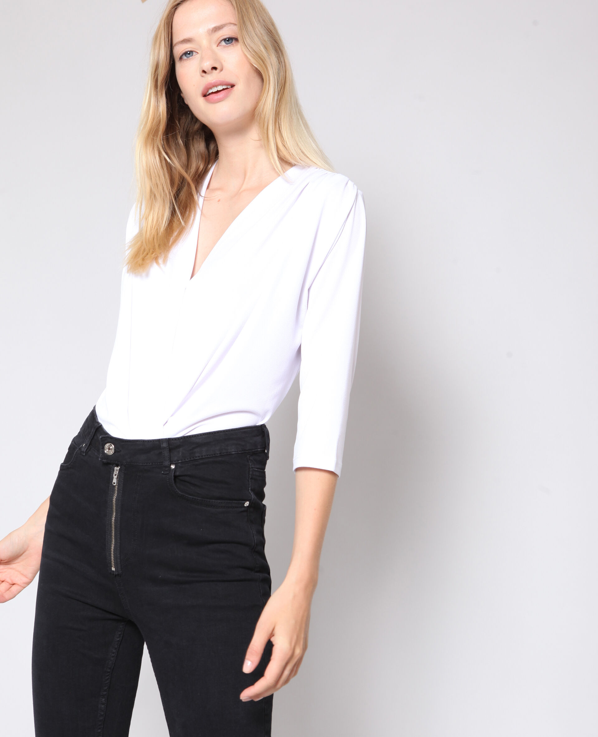 Soldes Body chemisier Femme -20% - Couleur blanc - Taille S - PIMKIE - Mode Femme