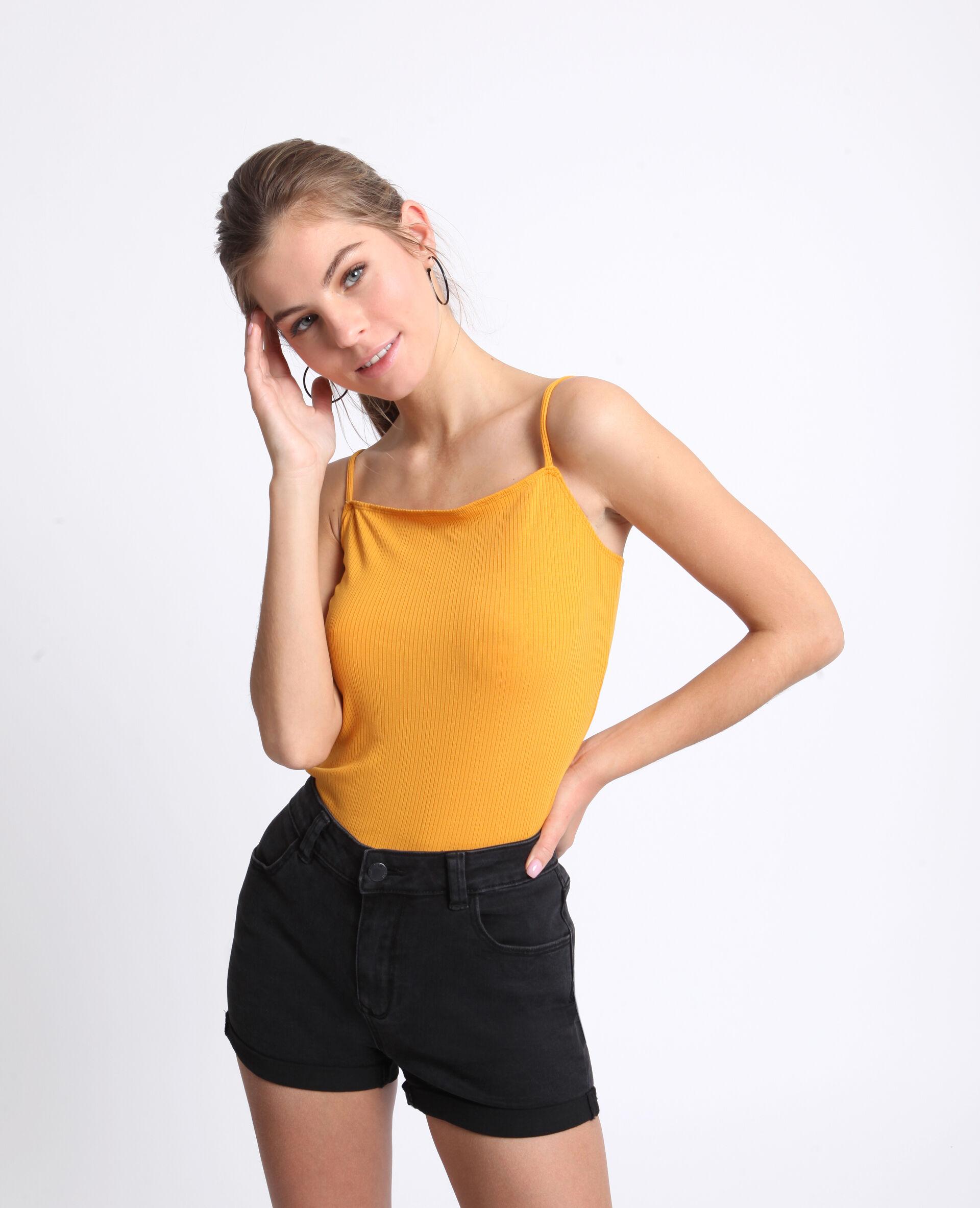 ✅Body maille côtelée Femme - Couleur jaune - Taille XL - PIMKIE - MODE FEMME