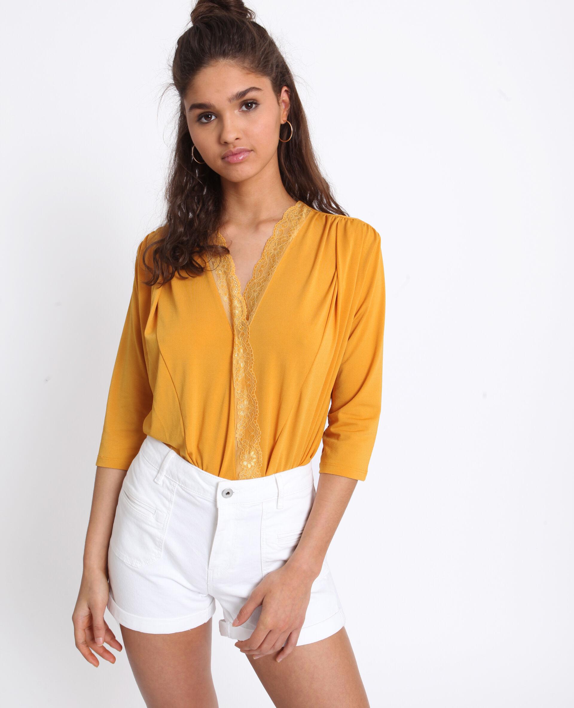 ✅Body chemisier en dentelle Femme - Couleur jaune - Taille XS - PIMKIE - MODE FEMME