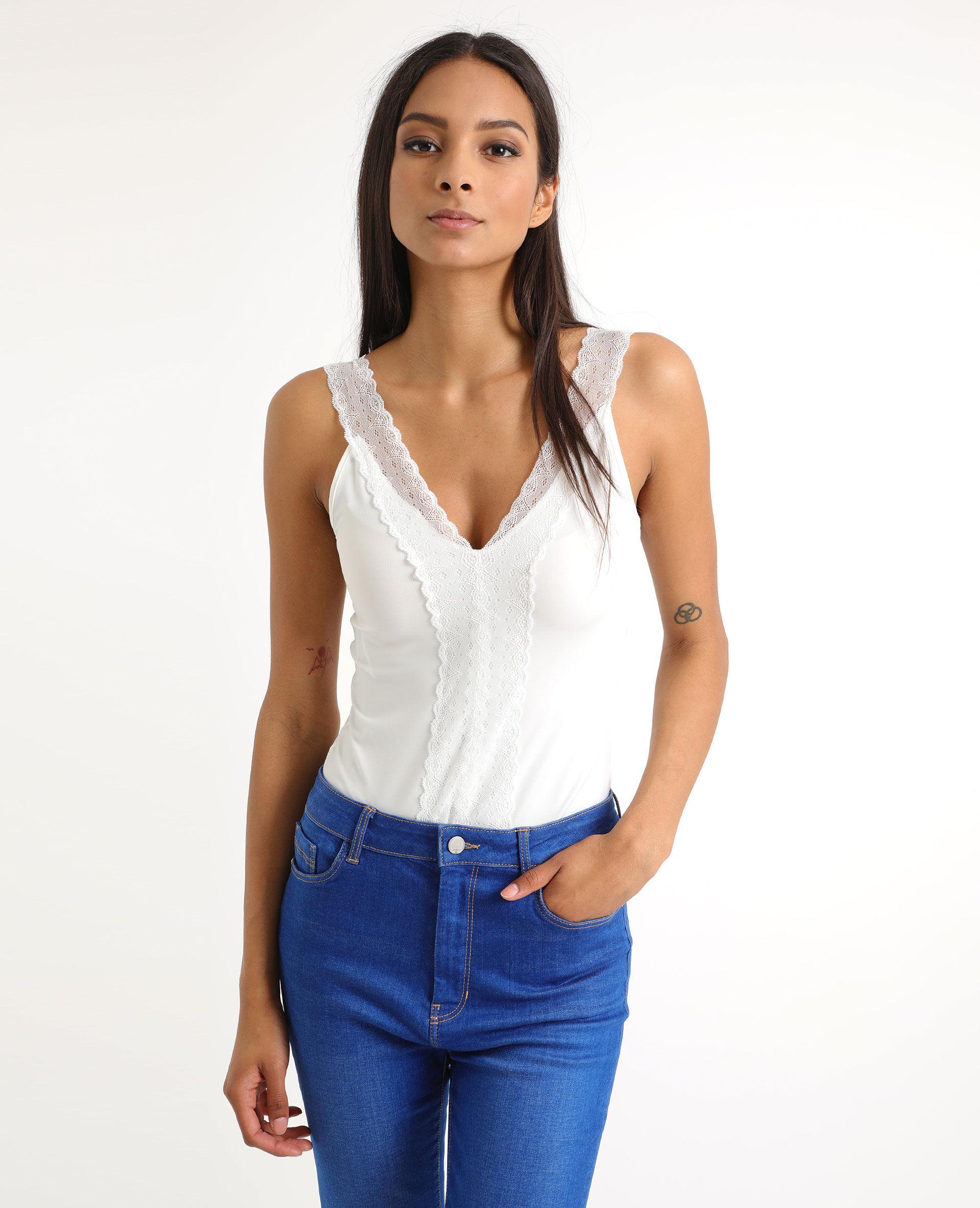 Body à dentelle Femme - Couleur blanc cassé - Taille XL - PIMKIE - MODE FEMME