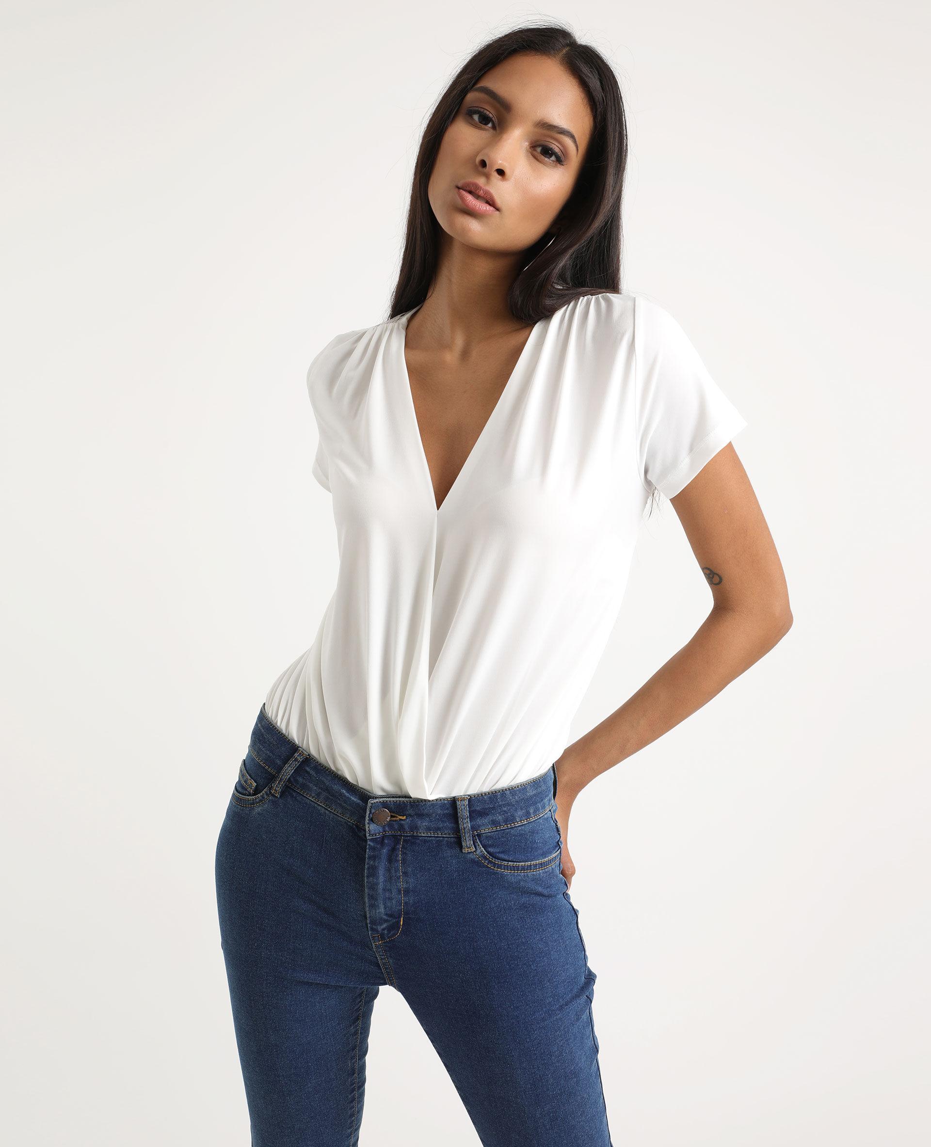 Body à manches courtes Femme - Couleur blanc cassé - Taille XS - PIMKIE - MODE FEMME