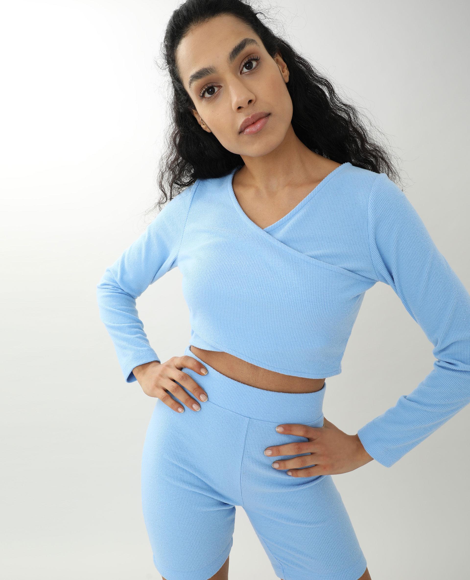 Top croisé Femme - Couleur bleu - Taille XS - PIMKIE - MODE FEMME