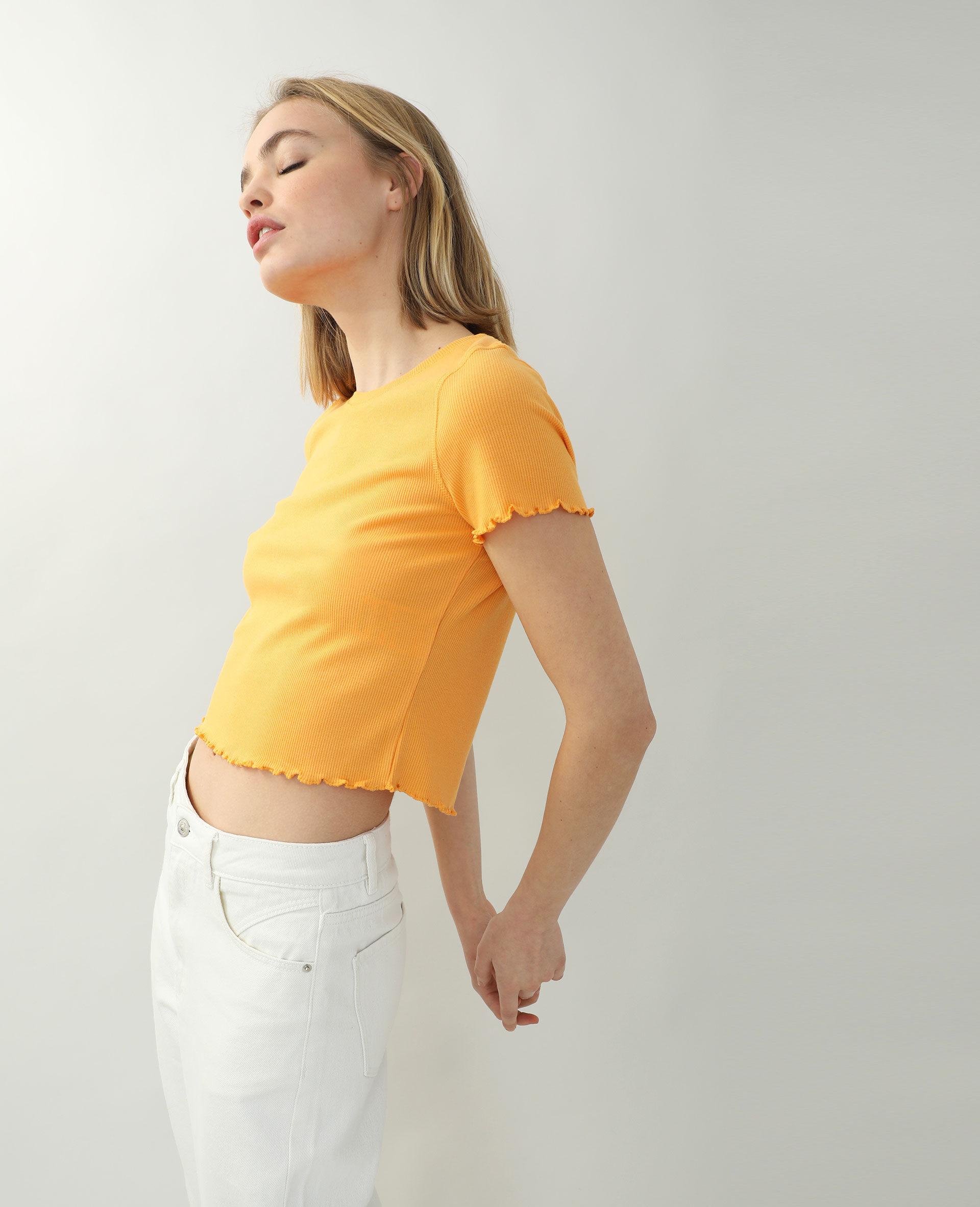 T-shirtcôtelé et volanté Femme - Couleur orange - Taille L - PIMKIE - MODE FEMME