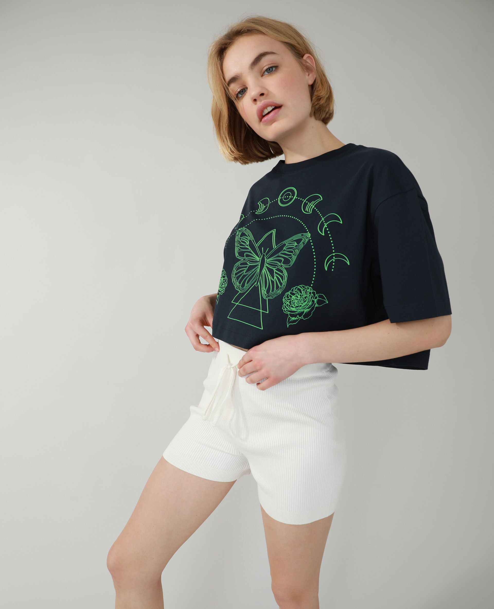 T-shirt cropped Femme - Couleur bleu marine - Taille L - PIMKIE - MODE FEMME