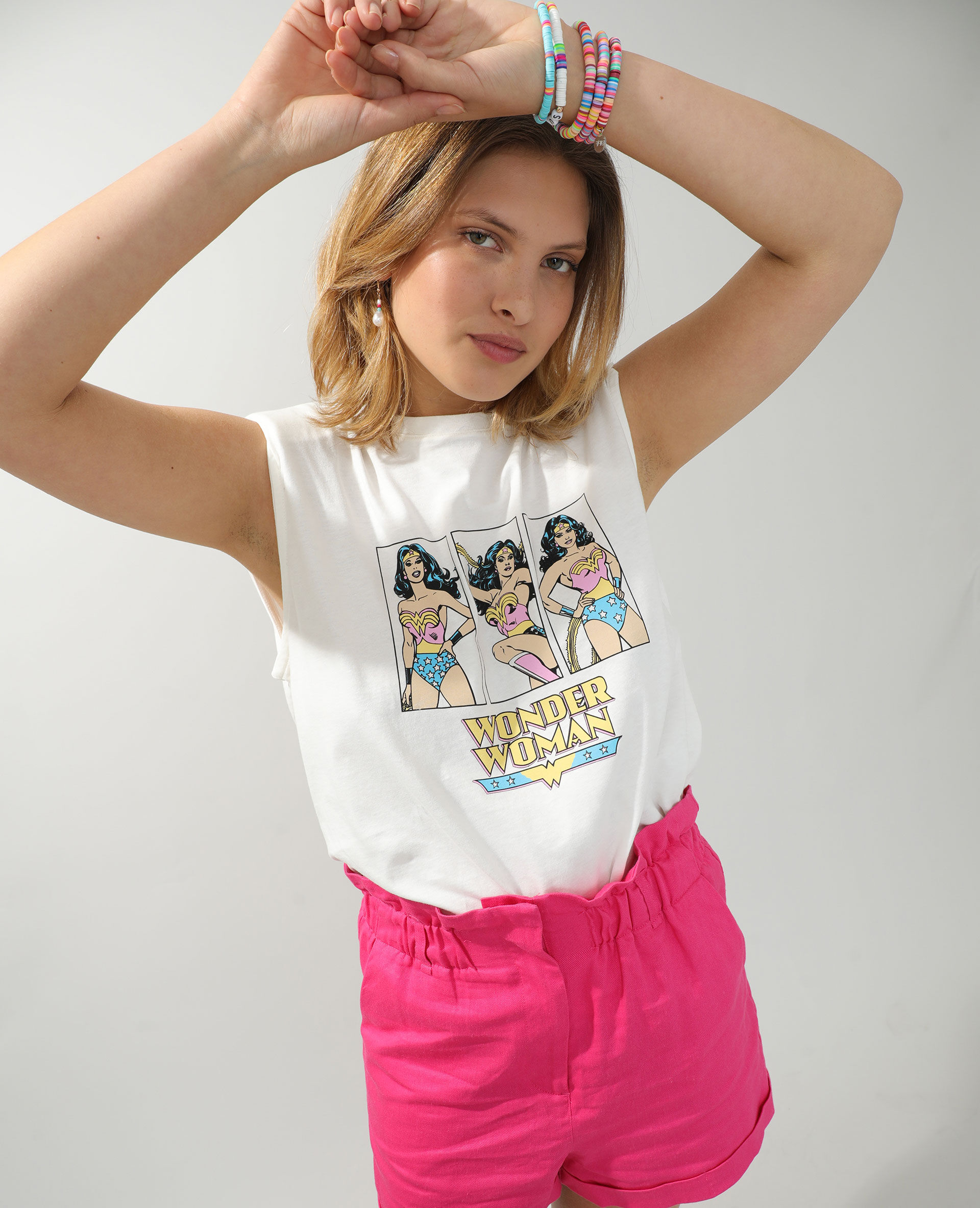 T-shirt à épaulettes Wonder Woman Femme - Couleur écru - Taille L - PIMKIE - MODE FEMME