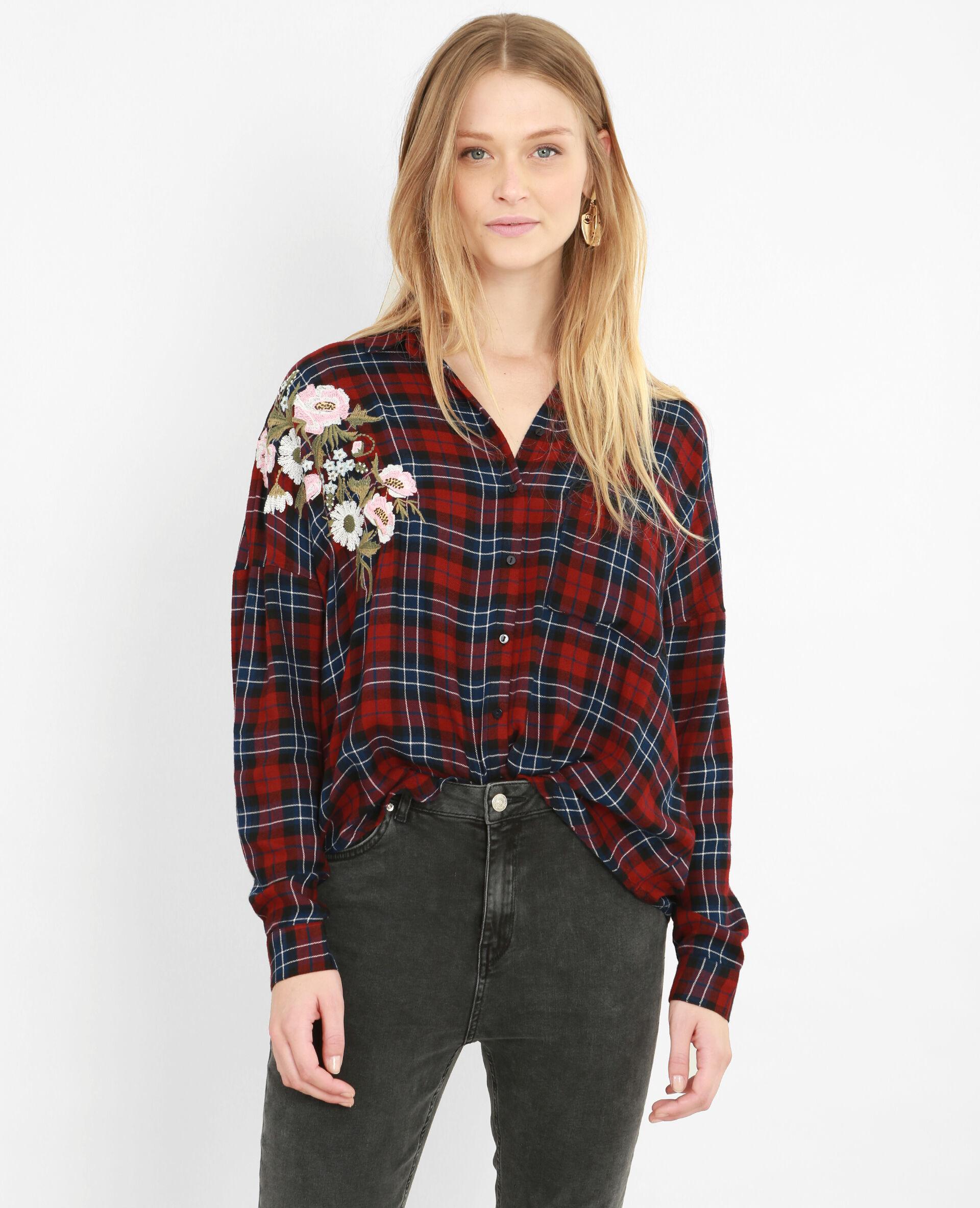 5479dbad5aa46  chemise à carreaux brodée femme couleur bordeaux taille l  strong pimkie