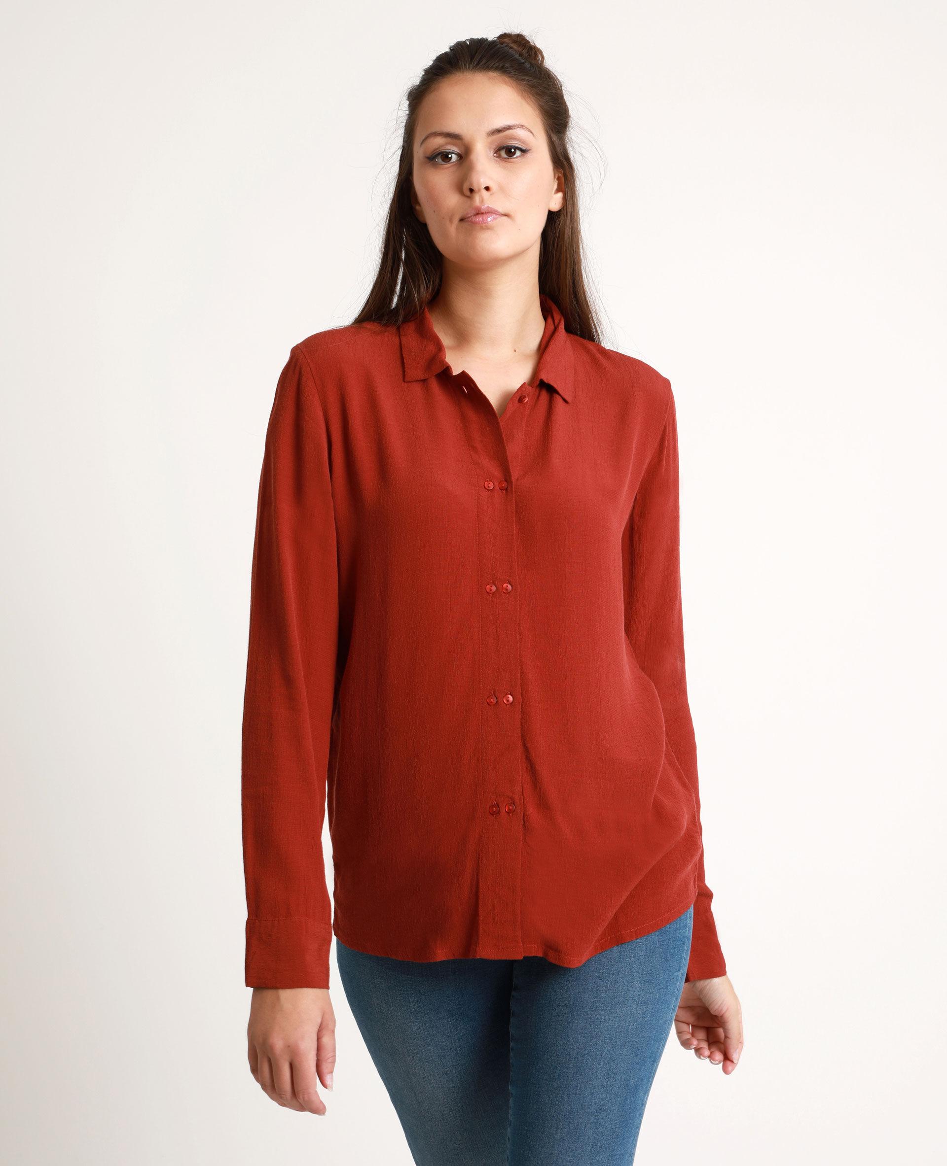Chemise fluide Femme - Couleur rouge foncé - Taille 44 - PIMKIE - MODE FEMME