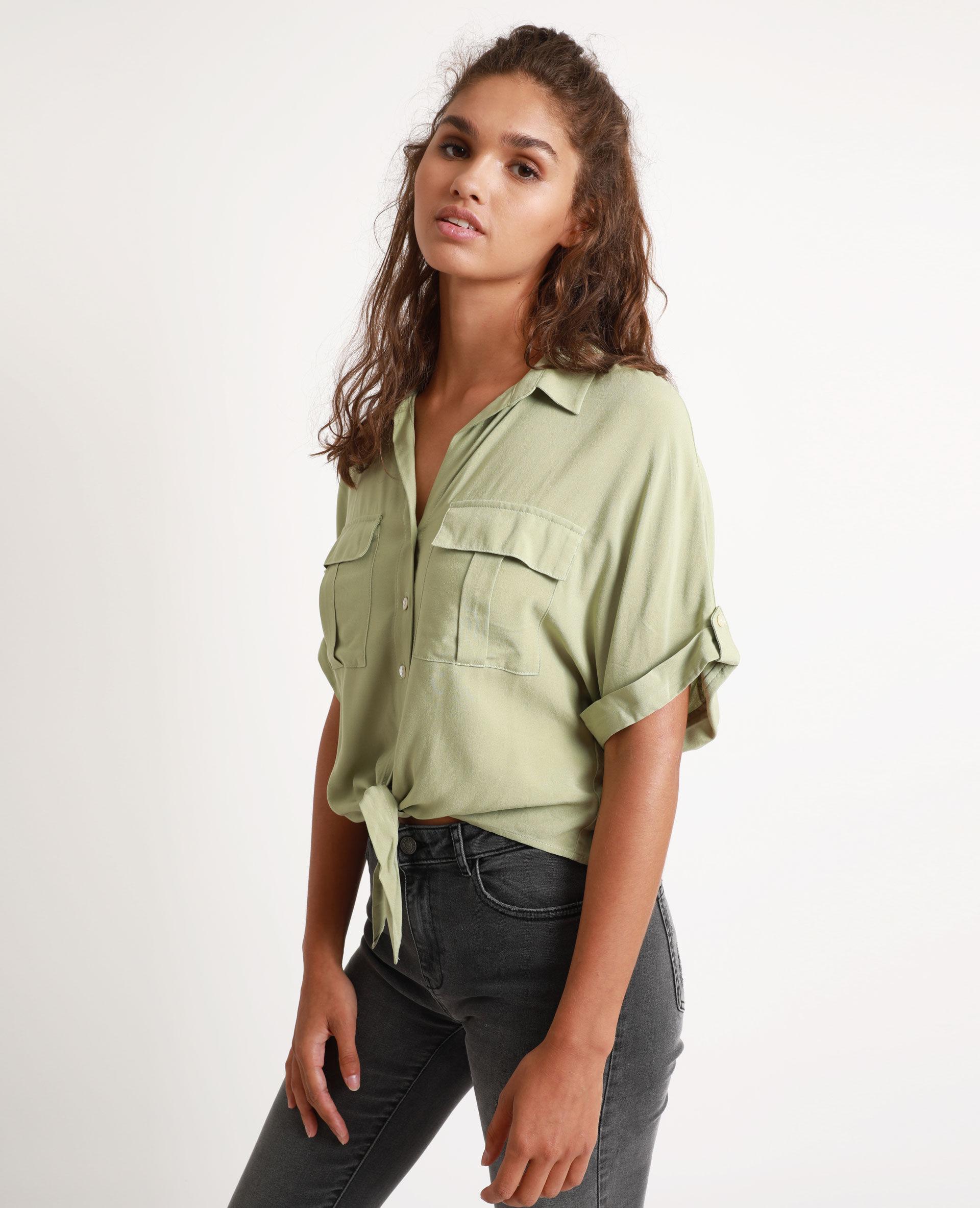 Chemise à manches courtes Femme - Couleur vert - Taille 44 - PIMKIE - MODE FEMME