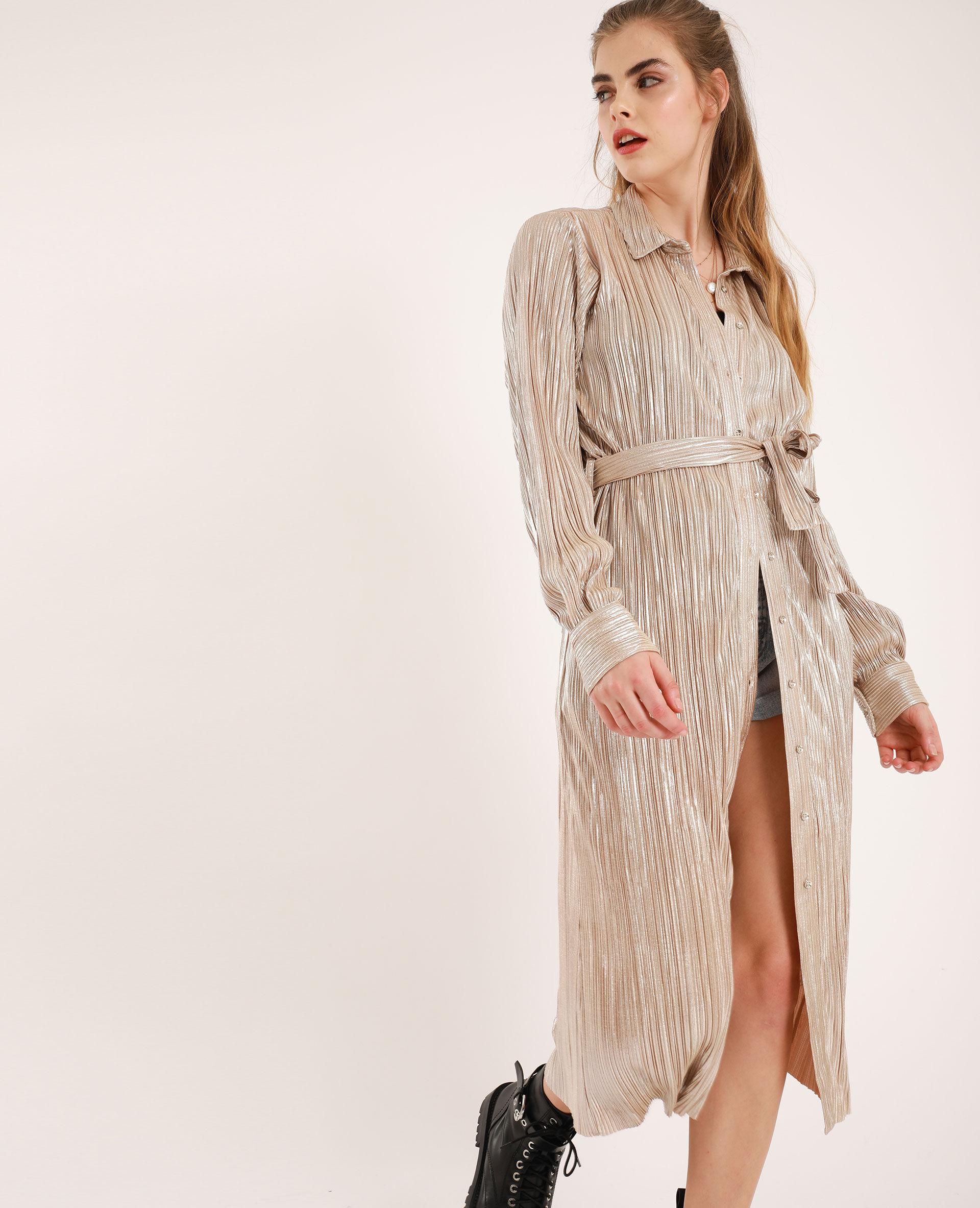 Chemise longue plissée Femme - Couleur doré - Taille L - PIMKIE - MODE FEMME