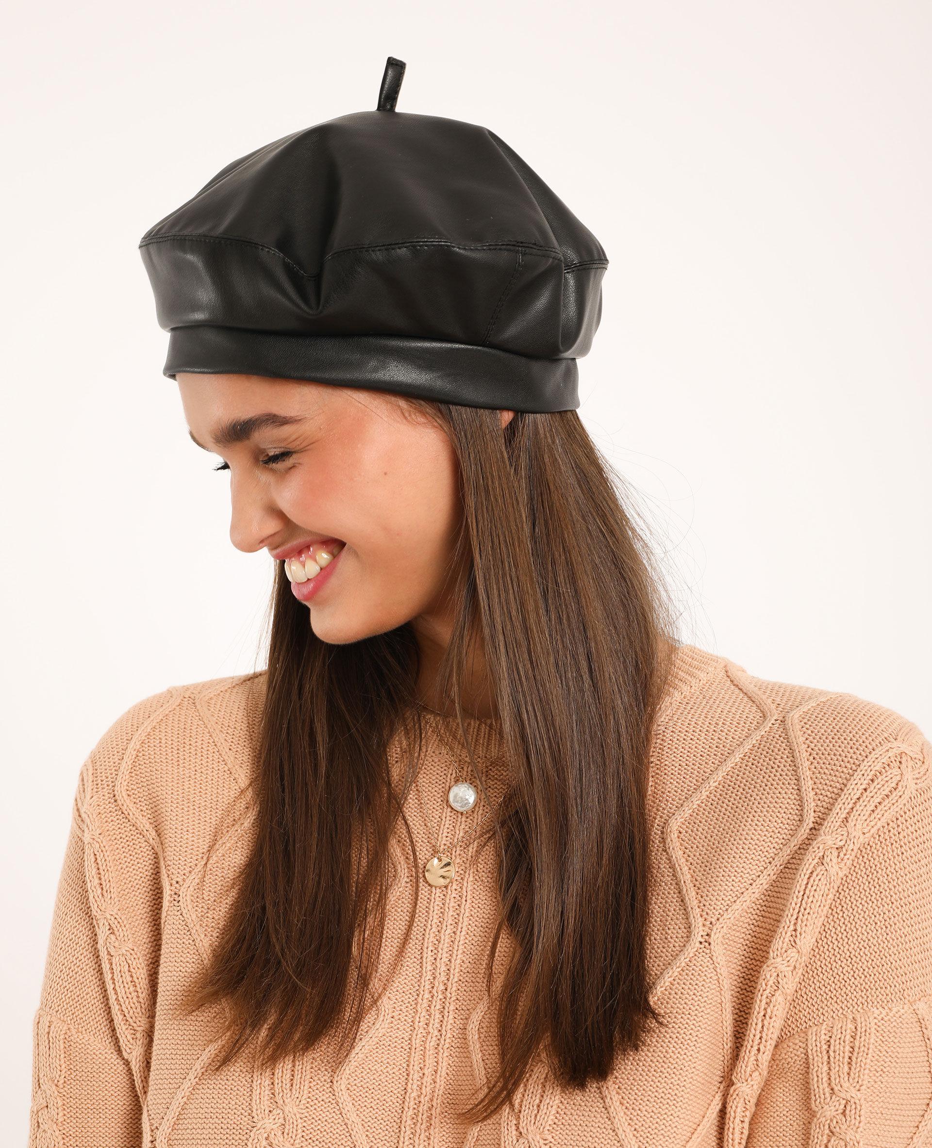 Béret en faux cuir Femme - Couleur noir - PIMKIE - MODE FEMME
