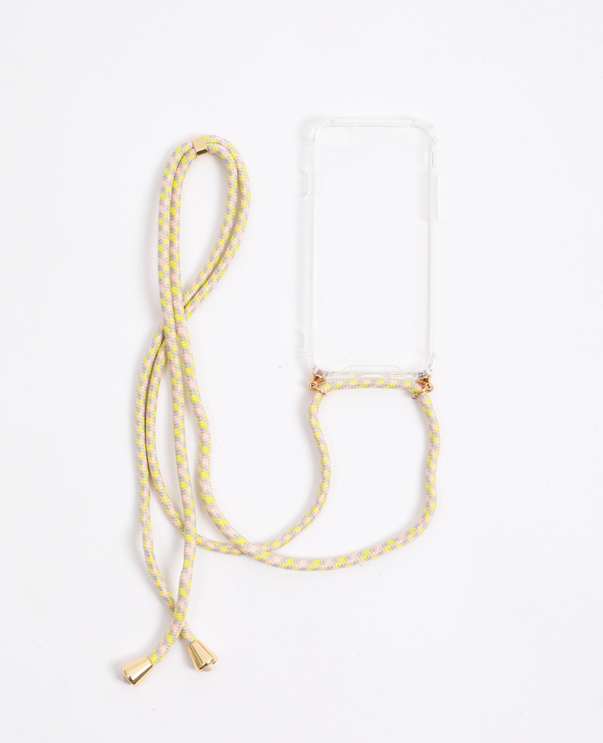 Coque avec cordon compatible iPhone Femme - Couleur beige...
