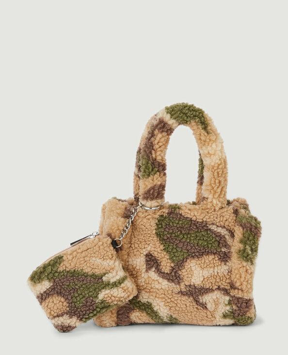 Mini sac moumouté motif camouflage beige - Pimkie