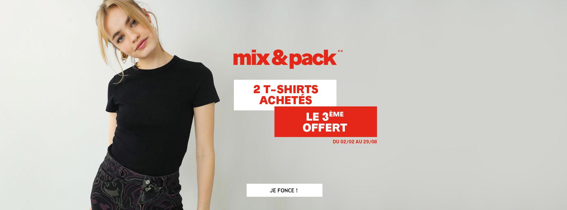 Mix & pack 2 tshirts achetés le 3ème offert