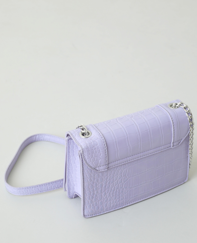 Sac boxy effet croco violet - Pimkie