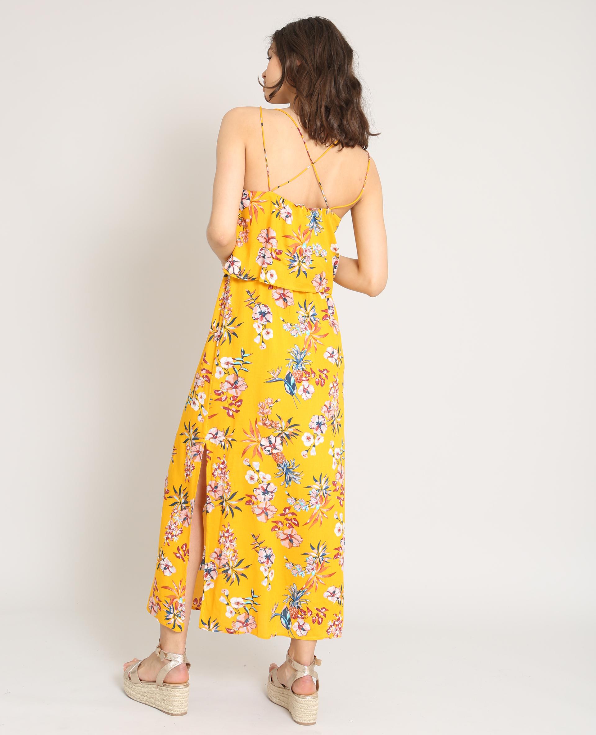 90f23ccff5f Robe longue à fleurs jaune - 780870061E3A